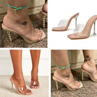 Gold heel clear sandals