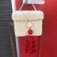 red pom shoulder bag