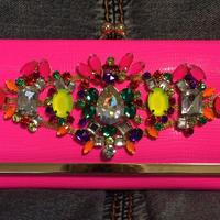 Neon  pink long wallet w rhinestones