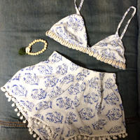Bra top & shorts set w bracelet