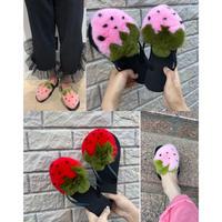 Strawberry fur sandals