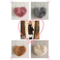 heart eco fur shoulder bag