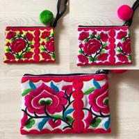 Mini embroidered purse w pompom