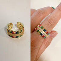 Wide rainbow trimmed ring