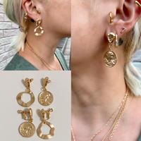 Matte gold coin design earrings / 2 styles