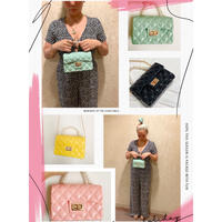 Pvc quilted bag w pearl handle