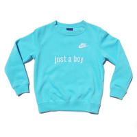 NIKE CUSTOM MADE CREW NECK SWEATSHIRT LIGHT AQUA BLUE
