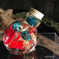 ハーバリウム ドラム型ガラスボトル(Turquoise blue, Gold, Red)