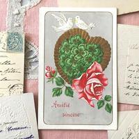 白鳩と四つ葉、薔薇のポストカード