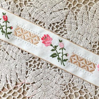 薔薇モチーフ刺繍チロリアンテープ(メートル売り)