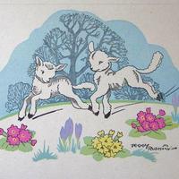 Rushtonの二匹の子ヤギのイースターグリーティングカード