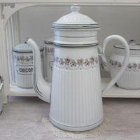 BB社薔薇ガーランド白地×緑ラインコーヒーポット
