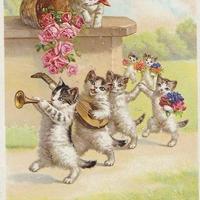 猫ちゃん達のパレード1 ポストカード