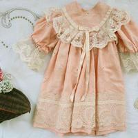 お人形用シルクのワンピースドレス(ピンク)