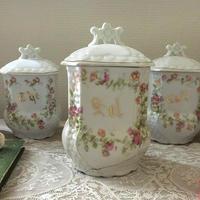 リモージュ陶器ピンク花モチーフのSelキャニスター