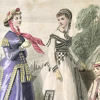 流行のドレスを着た女性達のモード画