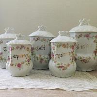 リモージュ陶器ピンク花モチーフキャニスター5個セット