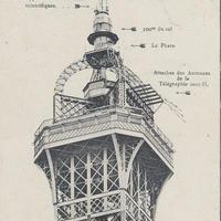エッフェル塔頂上部のポストカード(モノトーン)