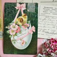 リボンとひよことお花モチーフのイースターポストカード