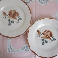 ディゴワン・サルグミンヌ薔薇モチーフ平皿(小)2枚セット2