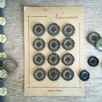 お花の形のボタンシート グレー(大)12個+ばら4個の計16個セット