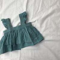 tocoto vintage  lace plumeti baby blouse(green) 12m