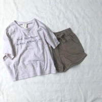 刺繍Tシャツセットアップ(ブラウン)
