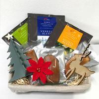 【30セット限定】クリスマス籠 プレミアム ギフトセット(ドリップパック 13g x 3枚 ナチュラル素材の焼き菓子3個 組み立てオーナメント2個付き クリスマスリボンラッピング)12月18日頃お届け