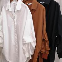 長袖バックプリ-ツシャツ