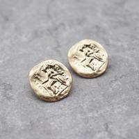Vintage Disco Coin Minimalist Earrings(GLD) / 2102_ER102