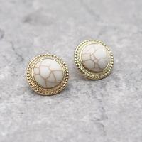 Vintage Round Marble Big Stud Pierce(GOLD) / 2102-PR034