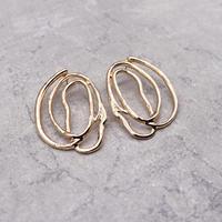 Distortion Irregular Round pierce(Gold)/  2103_PR092