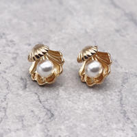 Imitation Pearl Ear Clip Earrings(Gold) /  2102_ER047
