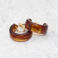 Acrylic Ear Hoop Clips Earrings(Marble Brown) /  2102_ER042