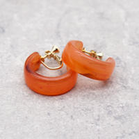 Acrylic Ear Hoop Clips Earrings(Marble Orange) /  2102_ER042