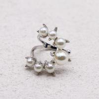Semicircle pearl  ring (SLV) / 2104-RG077