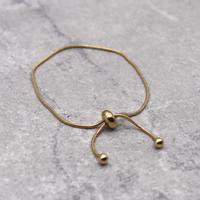 Snake Chain Bangle Pull-out Adjustablel Bracelet (GOLD)/ BR-029