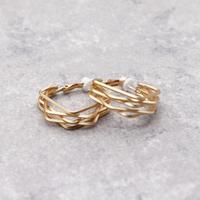 Clip on the ears Hoop Clips Earrings(Gold) /  2102_ER043