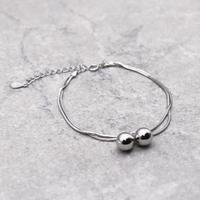 Snake Chain ball Bracelet (SILVER)/ BR-028