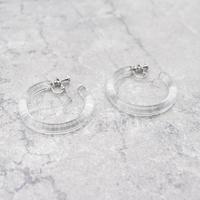 Acrylic Hoop Clip Earrings(Clear) / 2102_ER040