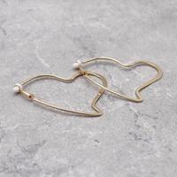 Heart Clip on ear with cushion pad Earrings(Gold) /  2102_ER051