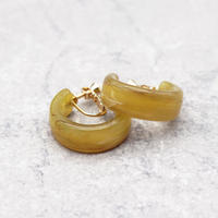 Acrylic Ear Hoop Clips Earrings(Marble Olive) /  2102_ER042