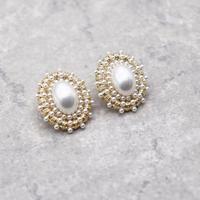 Vintage Pearl Beads Stud Pierce(GLD) / 2102-PR003
