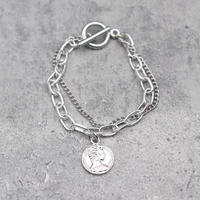 Coin&chain Bracelet (SILVER)/ BR-025