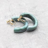 Acrylic Ear Hoop Clips L Earrings(Marble Mint) /  2102_ER041