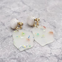Colored Sequin Resin Face Earrings(Marble Mint) /  2102_ER045