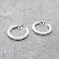 Acrylic Hoop Clip Earrings(White) /  2102_ER040