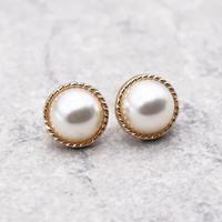 Vintage Round Pearl Big Stud Pierce(GOLD) / 2102-PR034