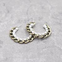 Metal Geometric Semi Circular Leather Pierce(WHT) / 2102-PR006