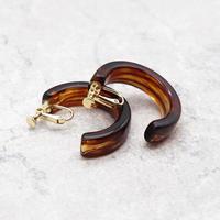 Acrylic Ear Hoop Clips L Earrings(Marble Brown) /  2102_ER041